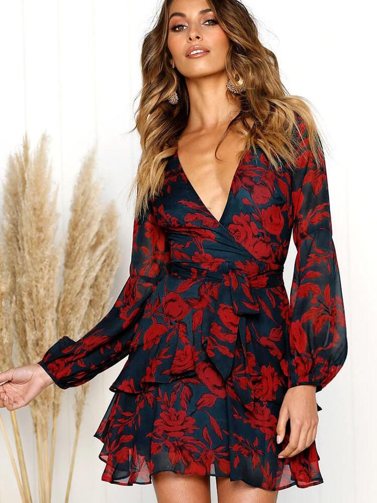 Floral PrintLantern Sleeves Belted Fall Dresses