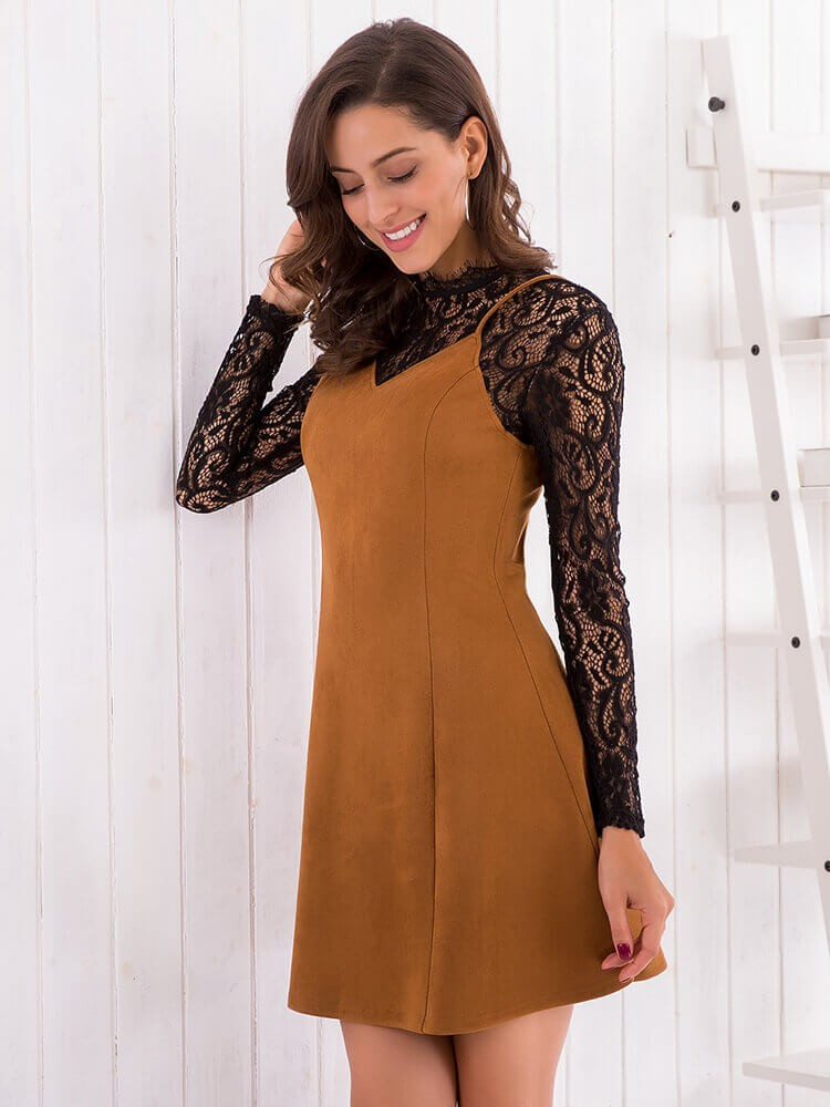Lace Patchwork Long Sleeve A-Line Suede Sheath Casual Mini Dress