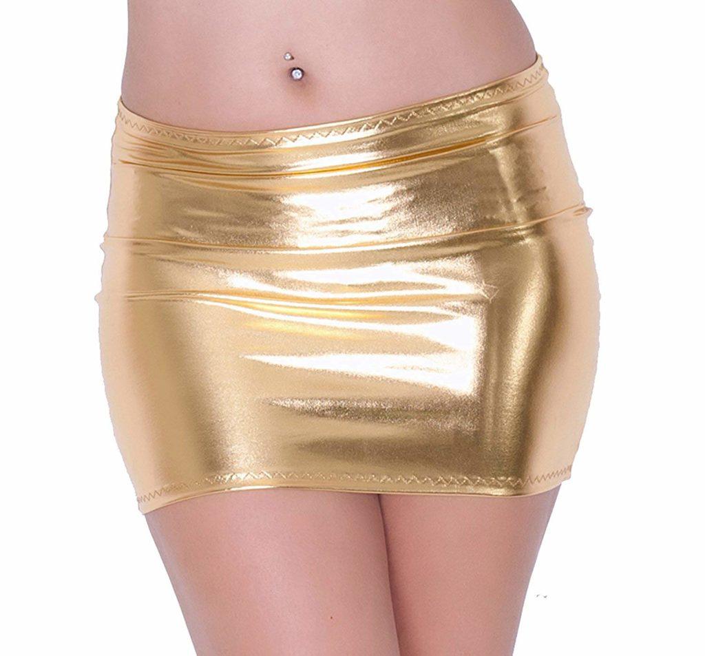 MPITUDE Women's Shiny Golden Micro Mini short Skirts