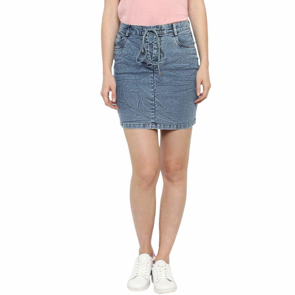StyleStone (3374BluDrwStrngSkirt) Women's Denim short Skirts