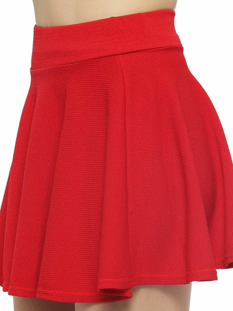 N-Gal Women's Cotton Lycra High Waist Flared Knit Skater Short Mini Skirt
