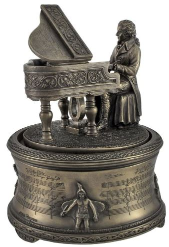 Bronzed Finish Mozart 'The Magic Flute' Spinning Music Box-image