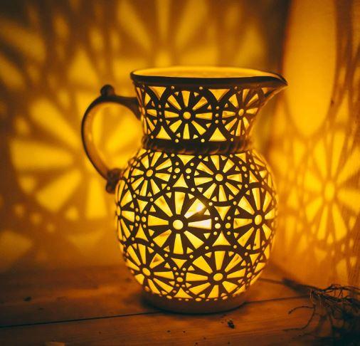Ceramic Pitcher Candle Holder, Unique Handmade Lantern For Home Decor-image