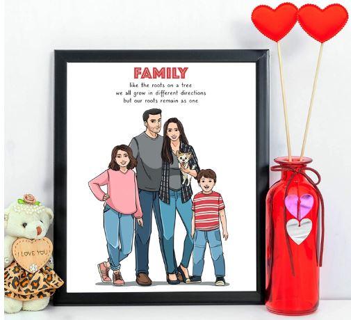 Hand Drawn Unique Family Portrait-image