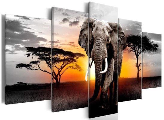 Elephant Animals Canvas Wall Art Black and White Sunrise Landscape-image
