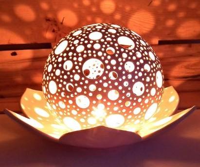 Lotus Flower Candle Holder, Ceramic Candle Lanterns Decorative-image