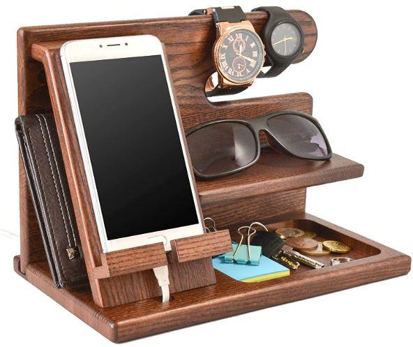 TESLYAR Wood Phone Docking Station Ash Key Holder Wallet Stand Watch Organizer-image