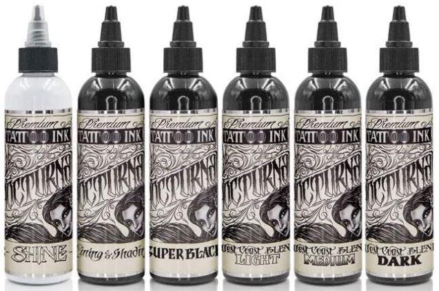 Nocturnal Full Set of 6 — 4oz Bottles — Nocturnal Tattoo Ink:-image