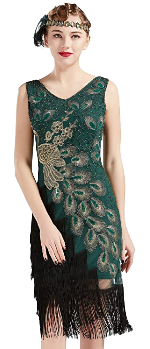 BABEYOND 1920s Vintage Peacock Sequined Dress-image