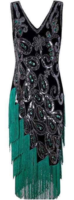 VIJIV Women's Vintage 1920s Style Peacock Dress-image