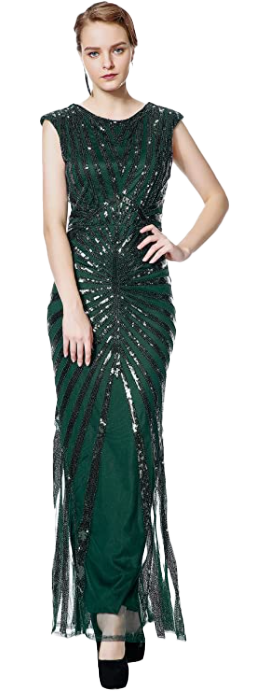 1920s Sequin Mermaid Formal Long Flapper Peacock Gown For Parties-image