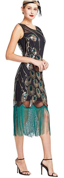 MISSCHEN Women's Fashion 1920S Vintage Peacock Sequin-image
