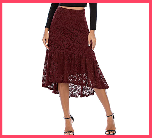 High Waist Midi High Low Basic Skirt