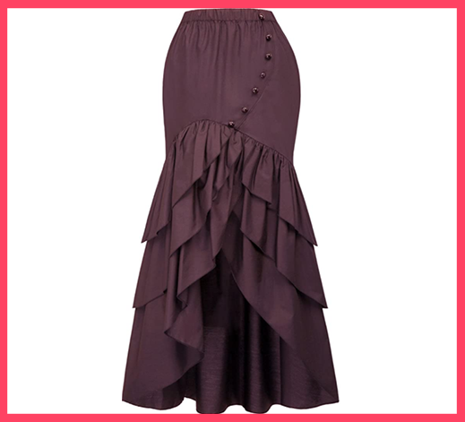 Victorian Ruffled High-Low Skirt