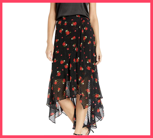 Midi Skirt with Asymmetrical Hem in a Floral Print