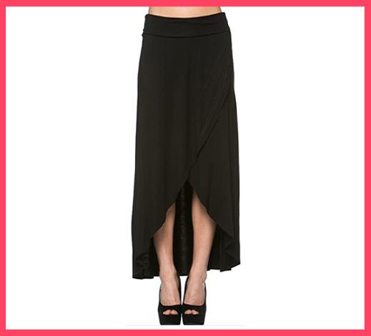 Azules Women's High Low Hem Maxi Skirt