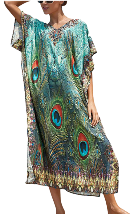 Bsubseach Women Casual Beach Dress In Peacock Style-image