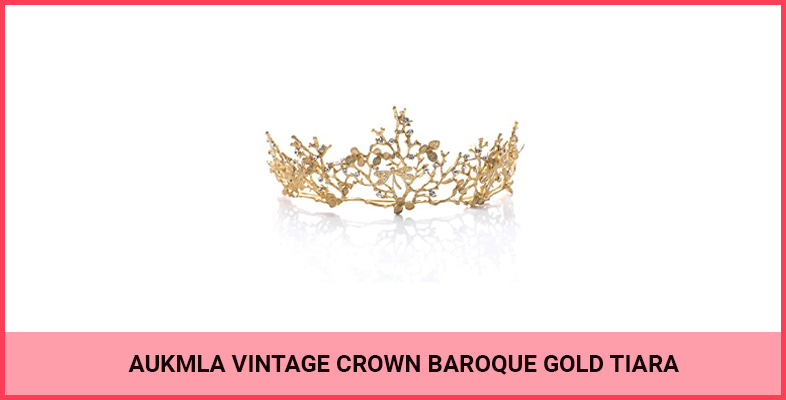 Aukmla Vintage Crown Baroque Gold Tiara