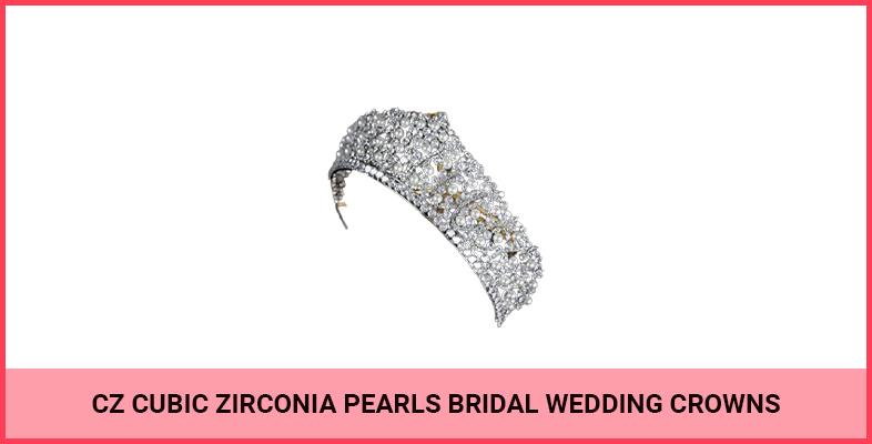CZ Cubic Zirconia Pearls Bridal Wedding Crowns