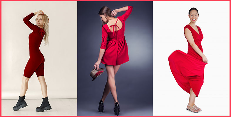 Red-Dress-With-Boots,-Heels-&-Sandals