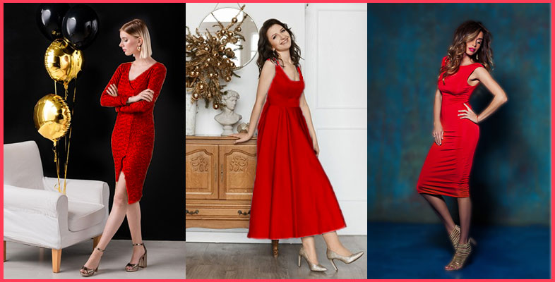Red-Dress-With-Golden-Shoes
