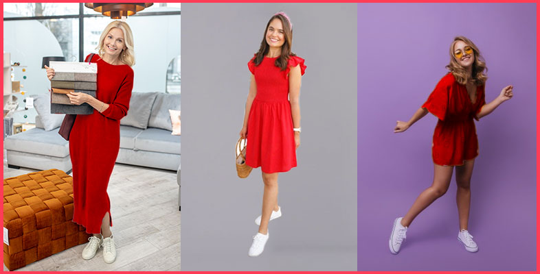 Red-Dress-With-Sneakers