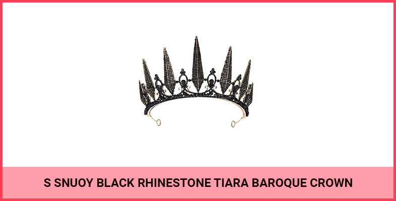 S SNUOY Black Rhinestone Tiara Baroque Crown