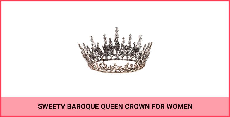 SWEETV Baroque Queen Crown for Women