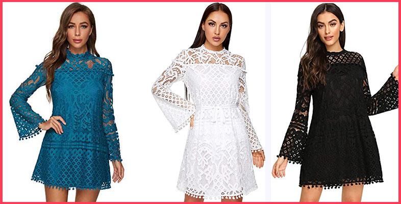 SheIn-Women's-Sheer-Lace-Bell-Sleeve-Dress