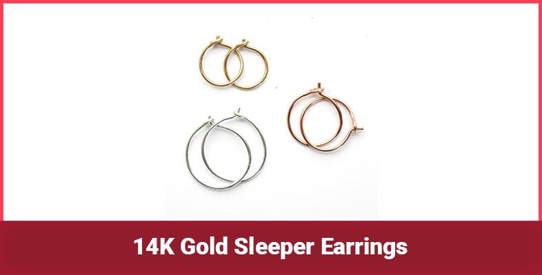 14K Gold Sleeper Earrings