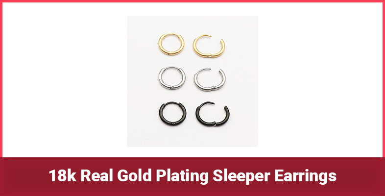 18k Real Gold Plating Sleeper Earrings