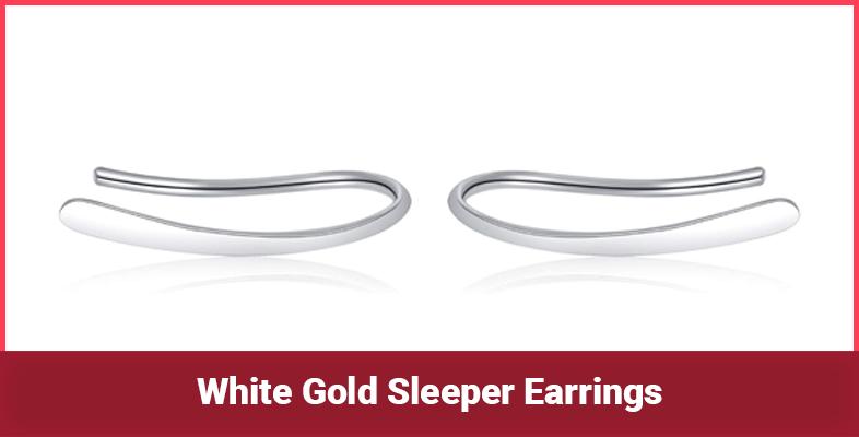 White Gold Sleeper Earrings
