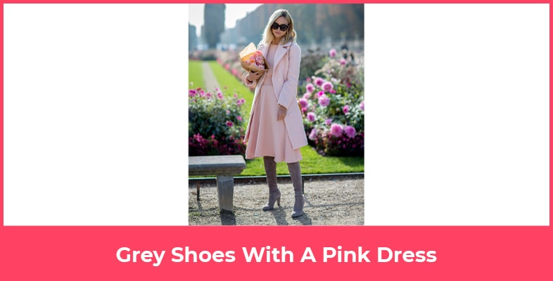 Grey Shoes With A Pink Dress