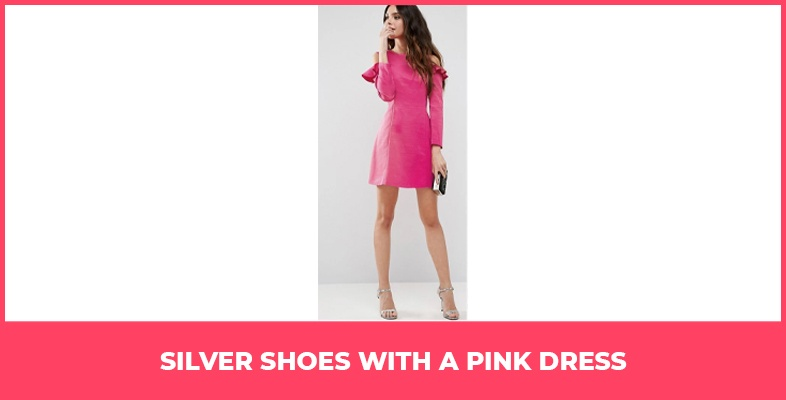 Silver Shoes With A Pink Dress