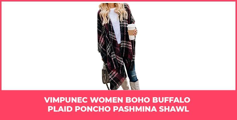 VIMPUNEC Women Boho Buffalo Plaid Poncho Pashmina Shawl