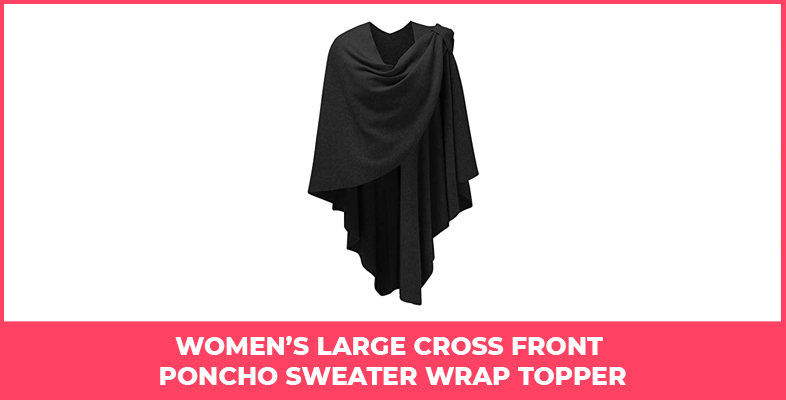 Women's Large Cross Front Poncho Sweater Wrap Topper