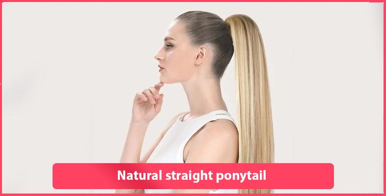 Natural straight ponytail