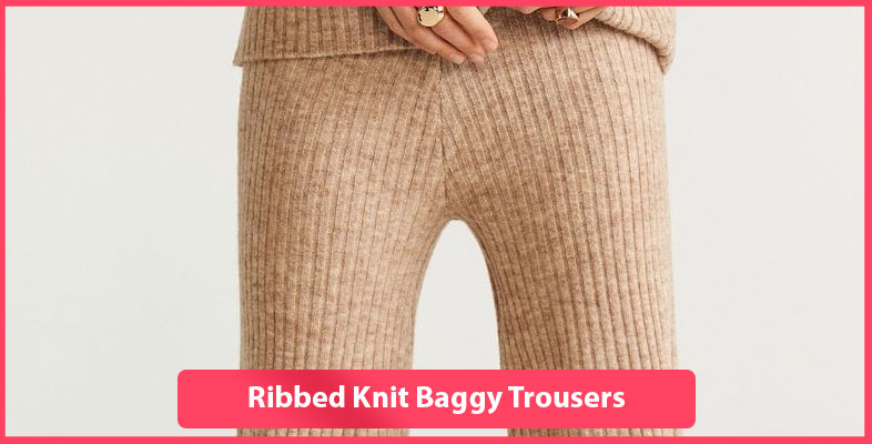 Ribbed Knit Baggy Trousers