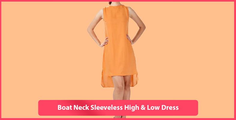 Boat Neck Sleeveless High & Low Dress
