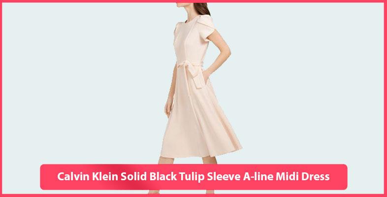 Calvin Klein Solid Black Tulip Sleeve A-line Midi Dress
