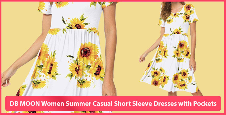 DB MOON Women Summer Casual Short Sleeve Dresses with Pockets