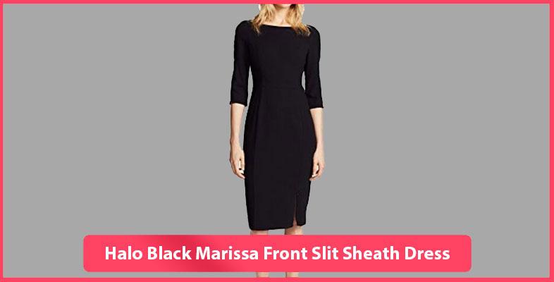 Halo Black Marissa Front Slit Sheath Dress