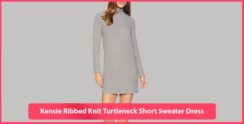 Kensie Ribbed Knit Turtleneck Short Sweater Dress