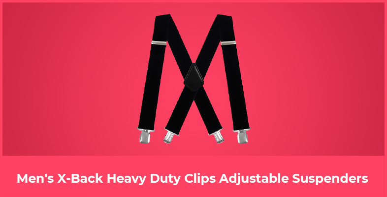 Men's X-Back Heavy Duty Clips Adjustable Suspenders