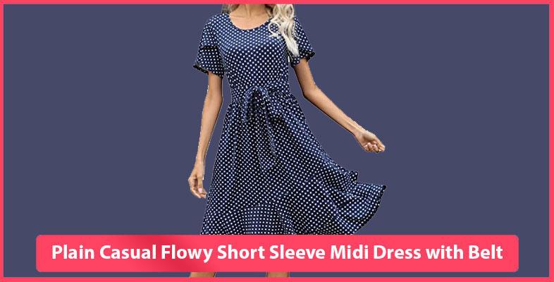 Plain Casual Flowy Short Sleeve Midi Dress with Belt